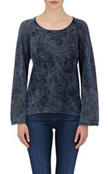 Skin Women's Pointelle Stitched Cotton Sweater Navy