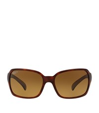 Ray Ban Chunky Square Wrap Around Sunglasses Female Brown