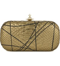 Vivienne Westwood Pollock Metallic Snake Embossed Box Clutch Gold