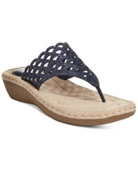 Cliffs By White Mountain Cameo Thong Wedge Sandals Women's Shoes Navy
