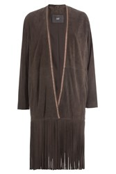 Steffen Schraut Suede Coat With Fringe Brown