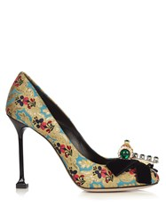 Miu Miu Bow Embellished Floral Mogador Pumps Blue Multi