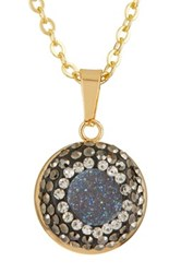 Elise M. Accessories 18K Gold Plated Aria Swarovski Crystal And Druzy Necklace Blue