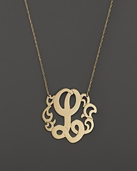 Jane Basch 14K Yellow Gold Swirly Initial Pendant Necklace 16