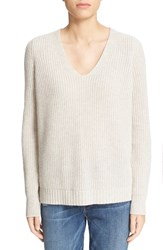 Autumn Cashmere Women's Shaker Stitch V Neck Sweater Mojave
