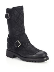Ralph Lauren Grover Quilted Leather Boots Black
