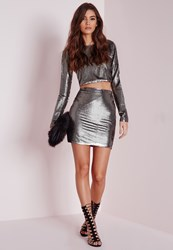 Missguided Sequin Mini Skirt Grey Grey