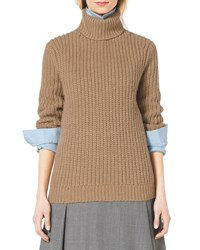 Michael Kors Fisherman's Chunky Rib Turtleneck Fawn