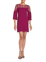Saks Fifth Avenue Red Larissa Lace Trim Shift Dress Plum