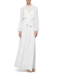 Co Long Sleeve Floral Embroidered Maxi Peasant Dress White