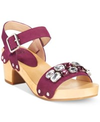 Mojo Moxy Strawberry Two Piece Wooden Platform Sandals Women's Shoes Plum