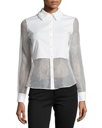 Cluny Long Sleeve Mesh And Poplin Blouse White