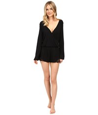 Only Hearts Club Venice Long Sleeve Playsuit Black Women's Jumpsuit And Rompers One Piece