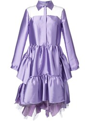 Natasha Zinko High Low Shirt Dress Pink And Purple