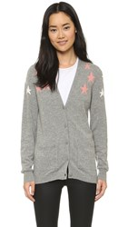 Chinti And Parker Shoulder Star Cashmere Cardigan Grey Pink Cream