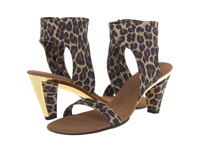 Onex Showgirl N Brown Leopard Elastic Women's Sandals Animal Print