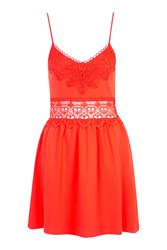 Topshop Lace Insert Sundress Red