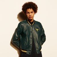 Coach Leather T Rex Varsity Jacket Bottle Green