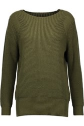 Adam By Adam Lippes Ribbed Cotton Cashmere And Silk Blend Sweater Army Green