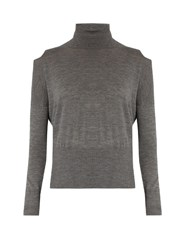 Vince Cut Out Shoulder Roll Neck Wool Sweater Light Grey