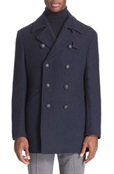 Men's John Varvatos Star Usa Trim Fit Wool Blend Double Breasted Peacoat