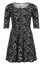 Threads Plus Size Print 3 4 Sleeve Swing Dress Black White