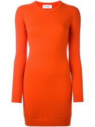 Courreges Round Neck Ribbed Dress Red
