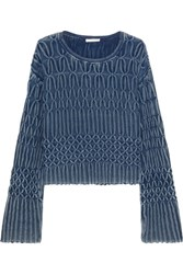Chloe Cable Knit Cotton Sweater Mid Denim