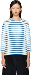 Ymc Ecru And Blue Breton Stripe T Shirt