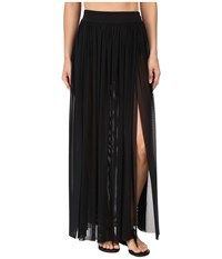 Jets By Jessika Allen Aspire Layered Mesh Maxi Skirt Cover Up Black Women's Swimwear