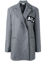 Au Jour Le Jour Logo Patch Coat Grey