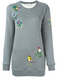 Red Valentino Sequin Embroidered Sweatshirt Grey