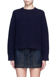 Acne Studios 'Java' Zip Side Chunky Wool Knit Sweater Blue