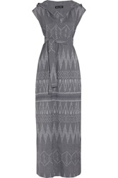 Baja East Ikat Cotton Jacquard Hooded Maxi Dress