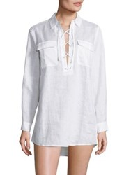 Tory Burch Swim Washed Lace Up Tunic White