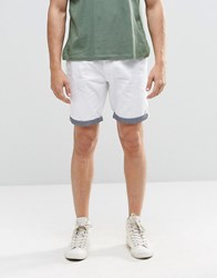 Brave Soul Chino Contrast Turn Up Shorts White