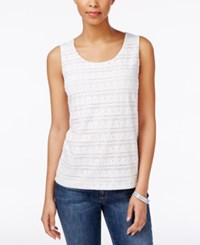 Charter Club Eyelet Tank Top Only At Macy's Bright White