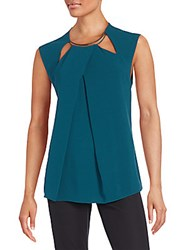 Halston Pleated Cut Out Cap Sleeve Top Spruce