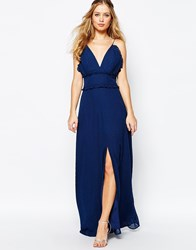 Jarlo V Front Maxi Dress With Frill Detail And Center Split Navy