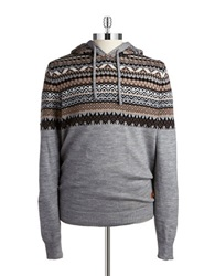 Buffalo David Bitton Fairisle Hooded Sweater Grey