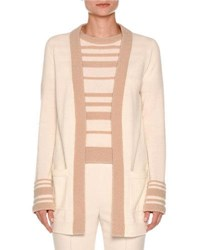 Agnona Striped Cuff Boucle Cardigan White Nude