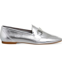 Office Destiny Metallic Leather Loafers Silver Leather