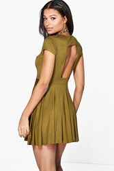 Boohoo Cut Out Back Skater Dress Olive