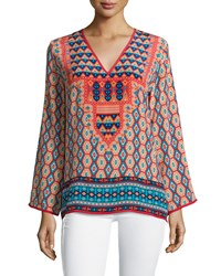 Tolani Monisha Border Detail Silk Tunic Red Ikat Women's