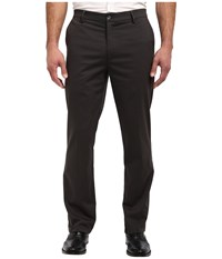 Dockers Signature Khaki D2 Straight Fit Flat Front Sueded Steelhead Men's Casual Pants Black