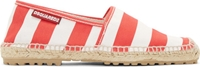 Dsquared White And Red Striped Espadrilles