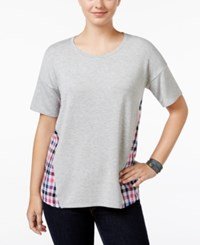 G.H. Bass And Co. Mixed Media Scoop Neck Top Heather Grey Dusk Combo
