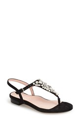 Women's Taryn Rose 'Ibsen' Jeweled Thong Sandal Black Suede