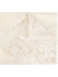Salvatore Ferragamo Lace Panel Scarf Nude And Neutrals