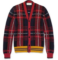 Gucci Checked Wool And Alpaca Blend Cardigan Red